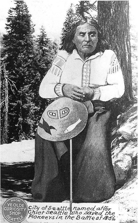 "In 1854, the ""Great White Chief"" in Washington made an offer for a large area of Indian land and promised a reservation for the Indian people - Chief Seattle replied (Wiki Image)"